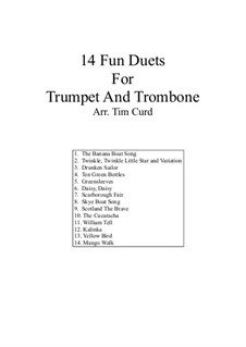 14 Fun Duets: For trumpet and trombone by folklore
