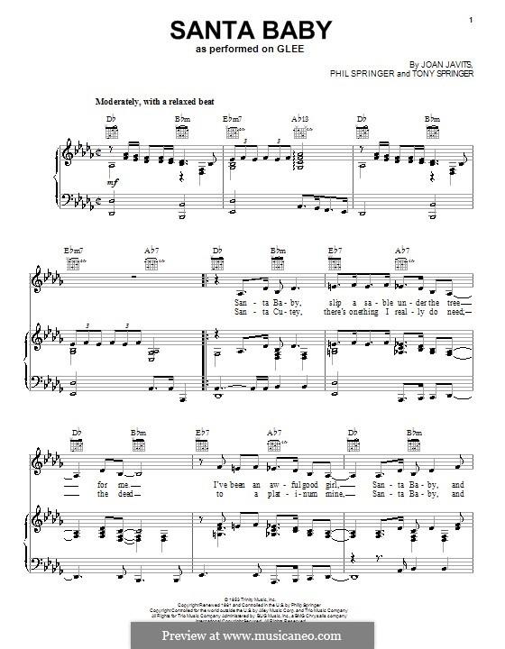 Santa Baby (Eartha Kitt): Для голоса и фортепиано или гитары (Glee Cast) by Joan Javits, Philip Springer, Tony Springer