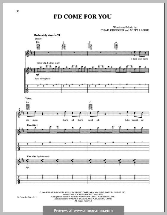I'd Come for You (Nickelback): Гитарная табулатура by Chad Kroeger, Robert John Lange
