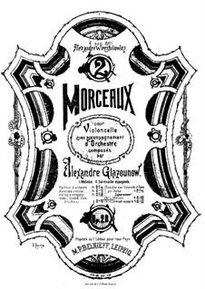 Две пьесы для виолончели и фортепиано, Op.20: No.1 Мелодия – партитура, сольная партия by Александр Глазунов