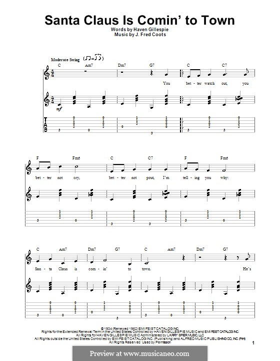 Santa Claus is Comin' to Town: For guitar with tab (C Major) by J. Fred Coots