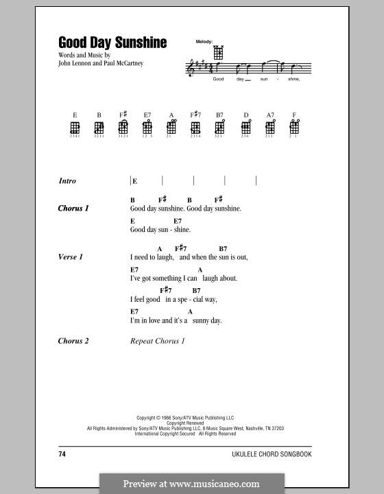 Good Day Sunshine (The Beatles): Для укулеле by John Lennon, Paul McCartney