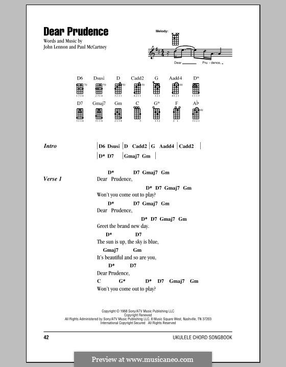 Dear Prudence (The Beatles): Для укулеле by John Lennon, Paul McCartney