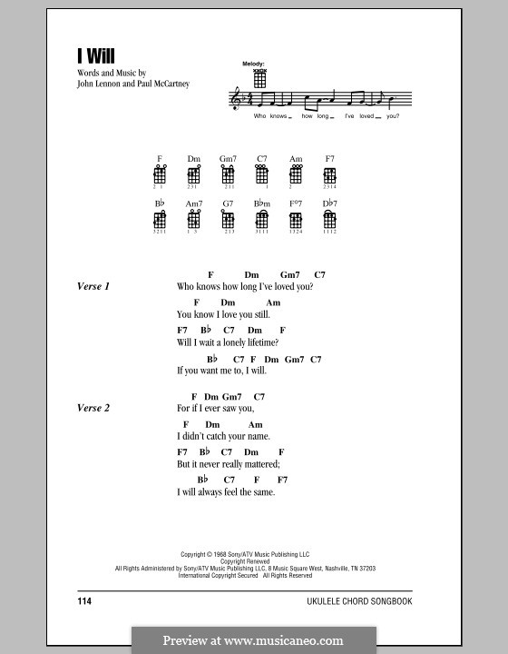 I Will (The Beatles): Для укулеле by John Lennon, Paul McCartney