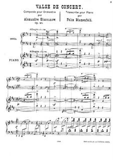 Концертный вальс для оркестра No.1, Op.47: Аранжировка для фортепиано by Александр Глазунов