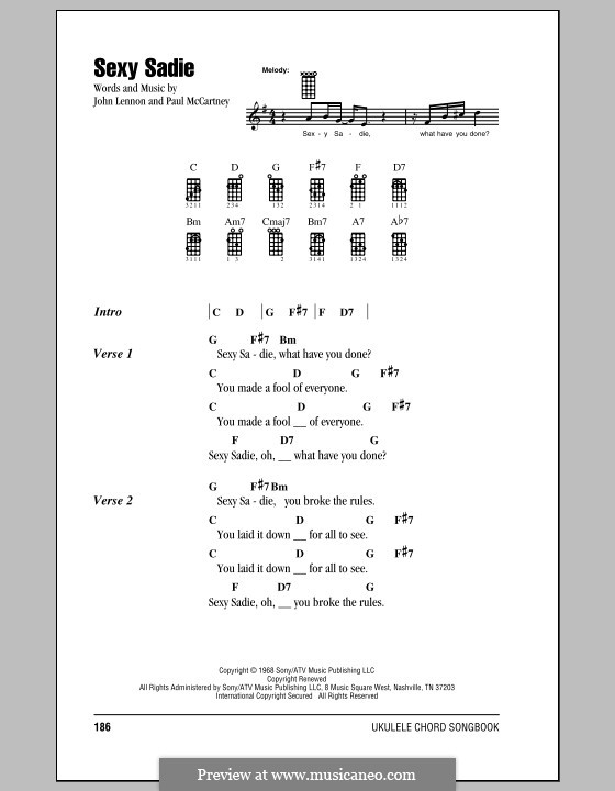 Sexy Sadie (The Beatles): Для укулеле by John Lennon, Paul McCartney