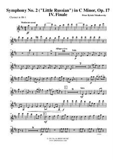 Симфония No.2 до минор 'Малороссийская', TH 25 Op.17: Movement IV – clarinet in Bb 1 (transposed part) by Петр Чайковский