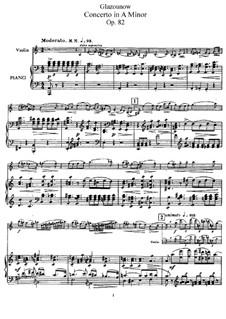 Концерт для скрипки и фортепиано ля минор, Op.82: Для скрипки и фортепиано – сольная партия, партитура by Александр Глазунов