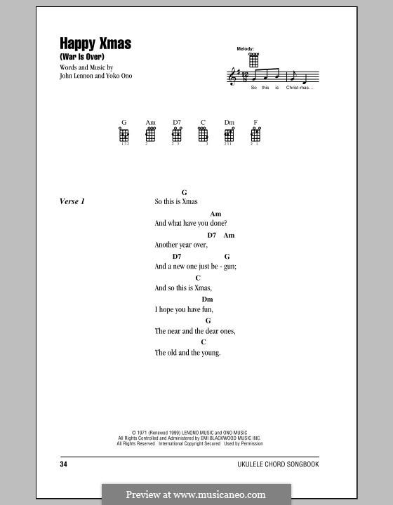 Happy Xmas (War Is Over): Для укулеле by John Lennon, Yoko Ono