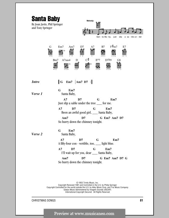Santa Baby (Eartha Kitt): Для укулеле by Joan Javits, Philip Springer, Tony Springer