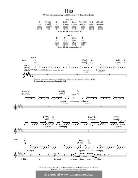 This: Для гитары с табулатурой by Ed Sheeran, Gordon Mills