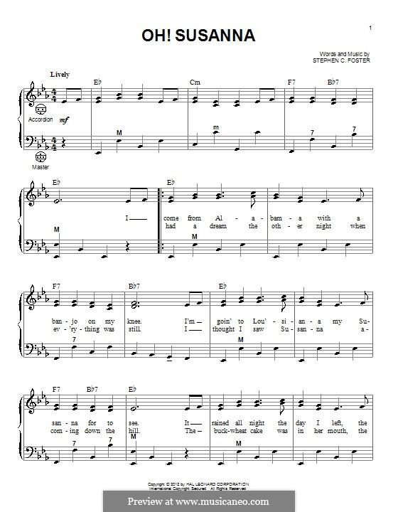 О, Сюзанна: Для аккордеона by Стефен Фостер