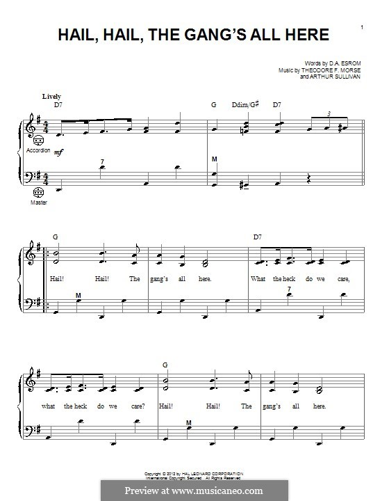 Hail! Hail! The Gang's All Here!: Для аккордеона by Артур Салливан, Theodore F. Morse