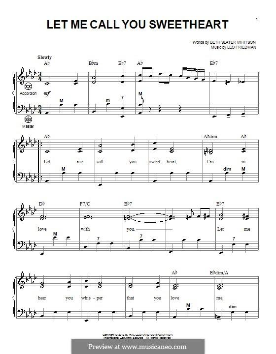 Let Me Call You Sweetheart: Для аккордеона by Лео Фридман