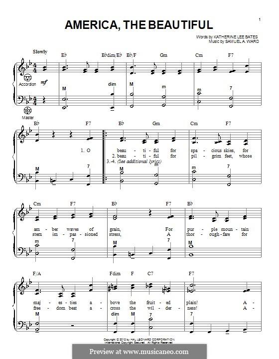America the Beautiful: Для аккордеона by Сэмюэль Августус Уорд