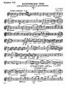 Патетическое трио ре минор: Для кларнета, фагота и фортепиано – партия кларнета by Михаил Глинка