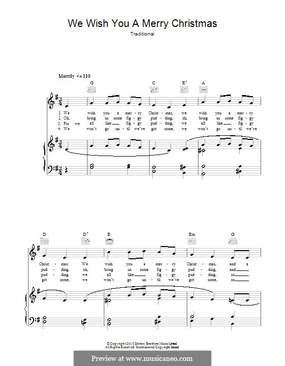 We Wish You a Merry Christmas (Printable Scores): Для голоса и фортепиано (или гитары) by folklore