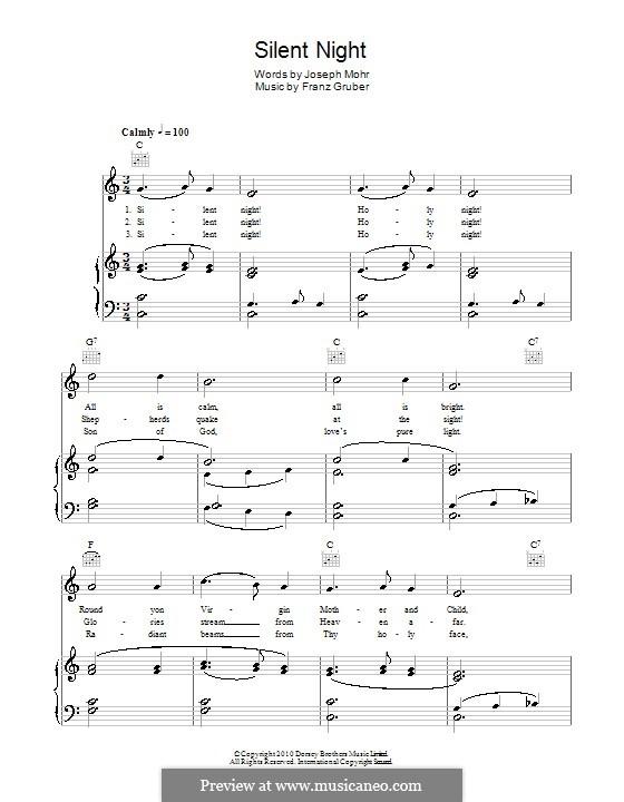 Тихая ночь (ноты для печати): Дл яголоса и фортепиано (или гитары) by Франц Ксавьер Грубер