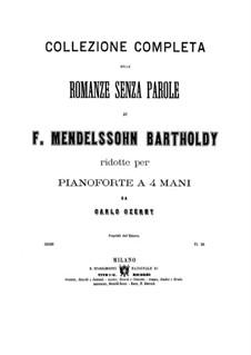 Песни без слов, Op.19b: Весь сборник (для фортепиано в четыре руки) by Феликс Мендельсон-Бартольди