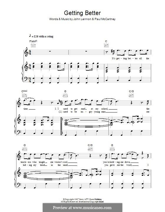 Getting Better (The Beatles): Для голоса и фортепиано (или гитары) by John Lennon, Paul McCartney