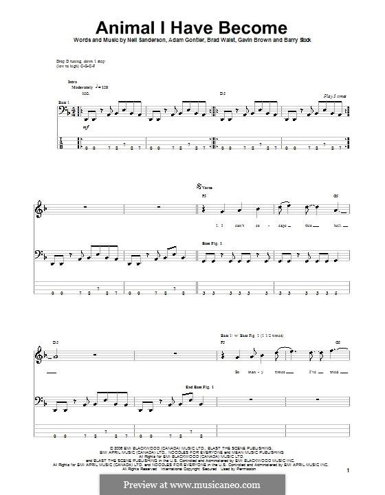 Animal I Have Become (Three Days Grace): Для бас-гитары с табулатурой by Adam Gontier, Barry Stock, Brad Walst, Gavin Brown, Neil Sanderson