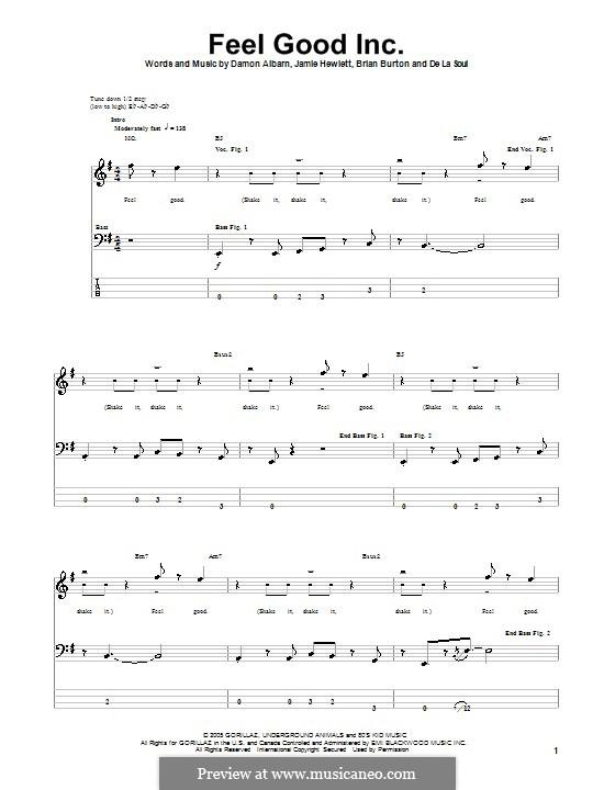 Feel Good Inc (Gorillaz): Для бас-гитары с табулатурой by Brian Burton, Damon Albarn, Jamie Hewlett, De La Soul