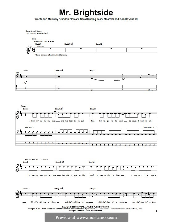 Mr. Brightside (The Killers): Для бас-гитары с табулатурой by Brandon Flowers, Dave Keuning, Mark Stoermer, Ronnie Vannucci