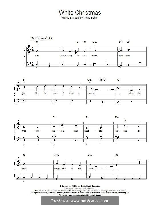 White Christmas, for Piano: Для одного исполнителя by Ирвинг Берлин