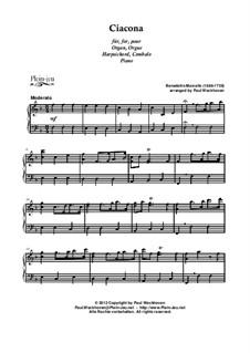 Двенадцать сонат для флейты и басо континуо, Op.2: Чакона, для клавишного инструмента by Бенедетто Марчелло
