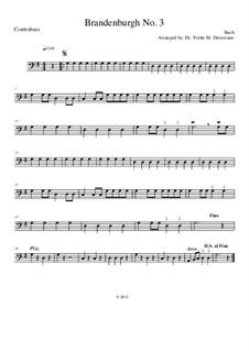 Бранденбургский концерт No.3 соль мажор, BWV 1048: Для струнного оркестра (for elementary to middle school age youths) – double bass part by Иоганн Себастьян Бах