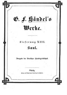 Саул, HWV 53: Партитура by Георг Фридрих Гендель
