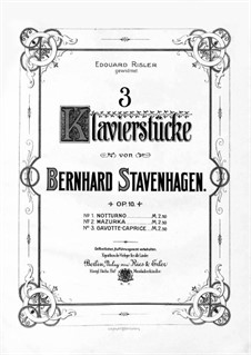 Three Pieces for Piano, Op.10: No.3 Gavotte by Бернхард Ставенхаген