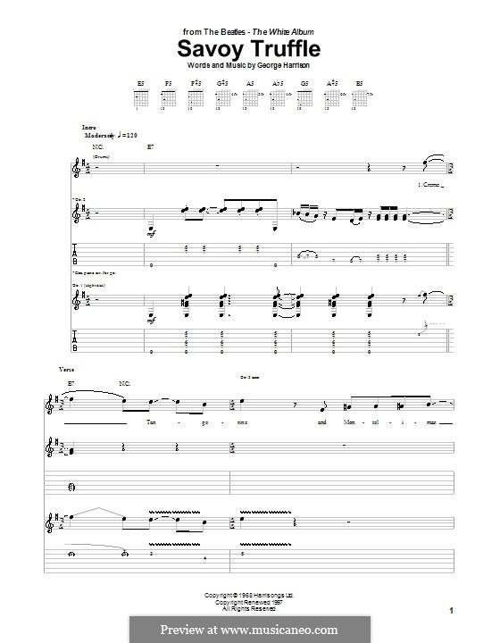 Savoy Truffle (The Beatles): Гитарная табулатура by George Harrison