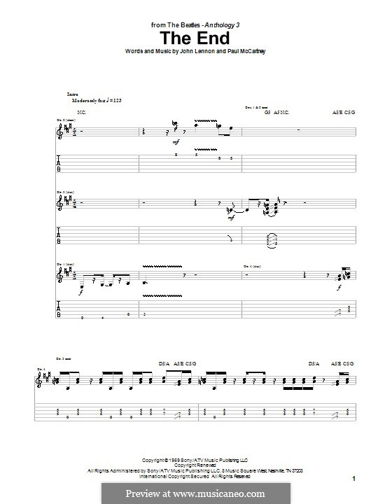 The End (The Beatles): Гитарная табулатура by John Lennon, Paul McCartney