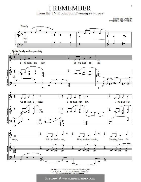 I Remember: Для голоса и фортепиано by Stephen Sondheim