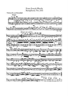 Симфония No.103 ми-бемоль мажор 'С тремоло литавр', Hob.I/103: Партия виолончели и контрабаса by Йозеф Гайдн