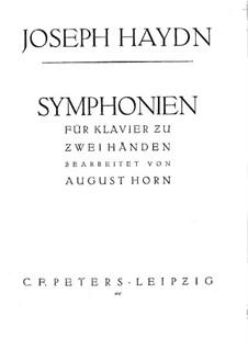 Симфония No.103 ми-бемоль мажор 'С тремоло литавр', Hob.I/103: Версия для фортепиано by Йозеф Гайдн