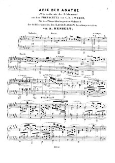 Akt II, Nr.8 Leise, leise, fromme Weise (Wie nahte mir der Schlummer): Клавир by Карл Мария фон Вебер