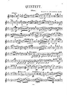 Квинтет для фортепиано и духовых, Op.43: Партия гобоя by Генрих фон Герцогенберг
