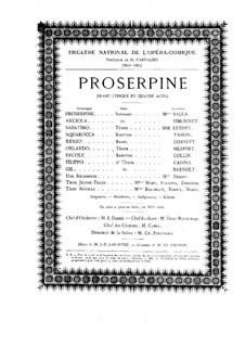 Прозерпина: Акт I, для солистов, хора и фортепиано by Камиль Сен-Санс