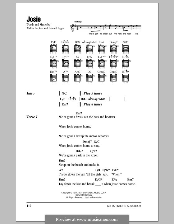 Josie (Steely Dan): Текст, аккорды by Donald Fagen, Walter Becker