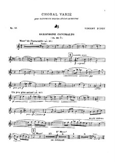 Choral varié for Saxophone and Orchestra, Op.55: Version for saxophone and piano by Венсан д' Энди