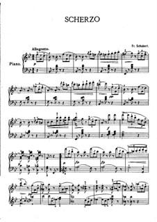 Два скерцо для фортепиано, D.593: Скерцо No.1 си-бемоль мажор by Франц Шуберт