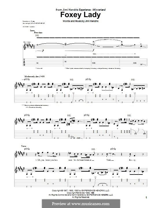 Foxy Lady: Для гитары с табулатурой by Jimi Hendrix