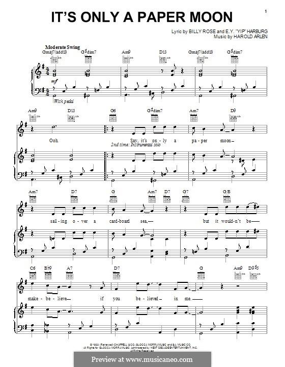 It's Only a Paper Moon: Для голоса и фортепиано (или гитары) by Harold Arlen