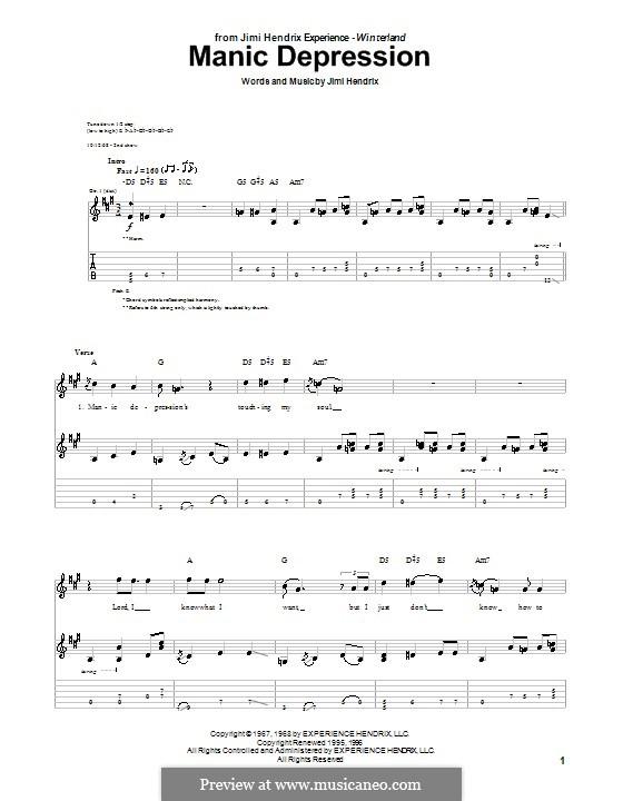 Manic Depression: Для гитары с табулатурой by Jimi Hendrix