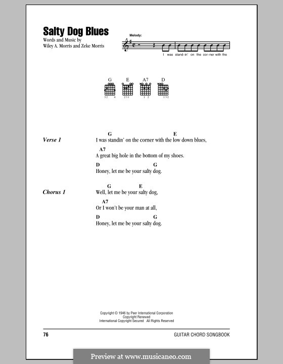 Salty Dog Blues (Flatt & Scruggs): Текст и аккорды by Wiley A. Morris, Zeke Morris