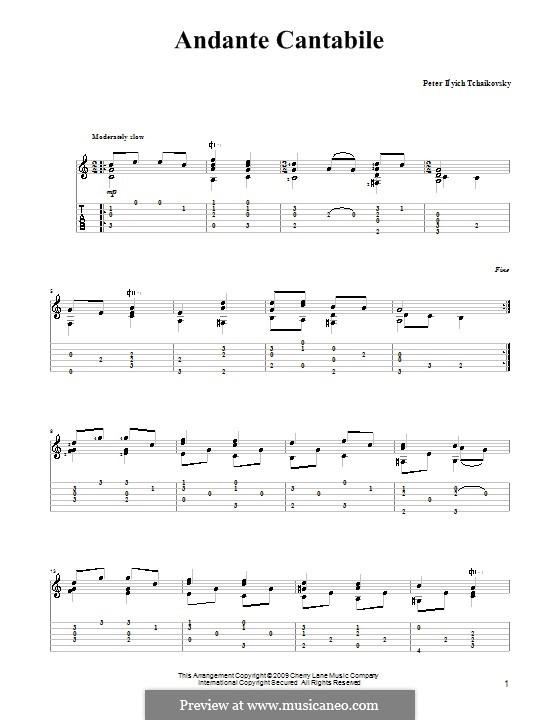 Струнный квартет No.1 ре мажор, TH 111 Op.11: Movement II, for guitar (with tablature) by Петр Чайковский