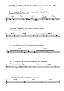 Grouping Rules for Quavers (Eighth Notes) and Rests In 2/4, 3/4 and 4/4 Times: Grouping Rules for Quavers (Eighth Notes) and Rests In 2/4, 3/4 and 4/4 Times by Yvonne Johnson