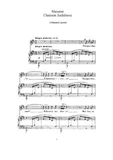 Chanson Andalouse: Клавир с вокальной партией by Жюль Массне
